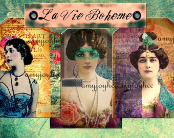 BOHEMIAN  printable journal cards   Victorian women  Gypsy Soul  Junk Journal  Gift tags  Hang Tag  digital journal kits  boho journal