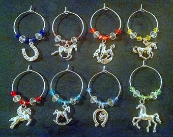 Horse Lover Wine Glass Charms, Set of 8 Horse Themed Wine Glass Tags, Wine Markers, Wine Charms, Hostess Gift