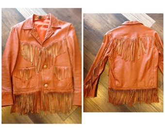 60's leather fringe jacket | vintage fringe coat made by Pypsa