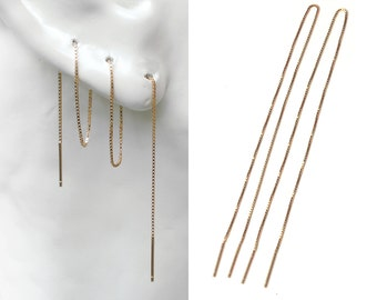 "Gold Threader Earring, Extra Long Ear Thread 8"" 20cm, Multiple Piercing Minimal Sterling Silver Rose Gold Vermeil Helix Chain Earrings"