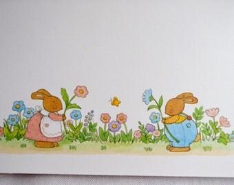 Vintage Note Cards - Trellis Flowers Bunny Rabbits - 3 Unused