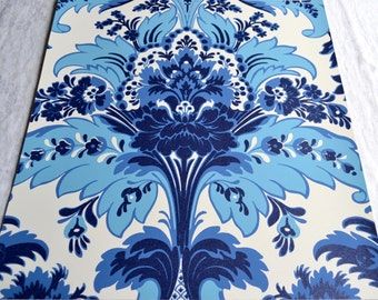 Wallpaper - Cole and Son  Sample Sheet  - 19 x 17  Albemarle Aldwych - Metallic Blue and White