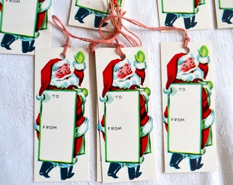 Vintage Christmas Gift Tags - 1950s Santa Claus Carrying Sign  - 8 Unused