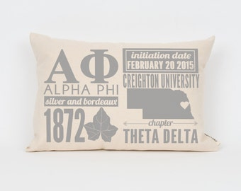 alpha phi custom sorority facts pillow greek letter pillow big little gift sorority letters sorority gift dorm decor