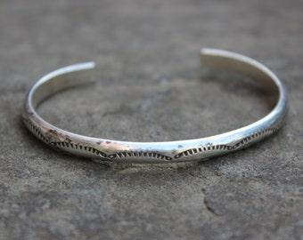 Sterling Silver Stamped Native American Cuff Bracelet