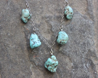 Beautiful Vintage Sterling Silver Necklace With Hanging Natural Turquoise Nuggets