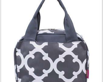 Gray Clover,  Lunch Box, Lunch Tote, Thermal Insulated, Monogramed