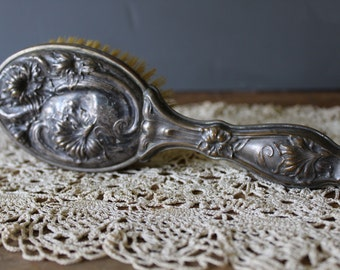 Antique Silver Plated Hairbrush, Art Nouveau Hairbrush With Handle, Repousse Hair Brush For Your Vanity