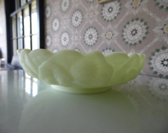 Fenton Yellow Custard Glass Candle Bowl in Water Lily Pattern, Satin Vaseline Glass Glows Under Black Light