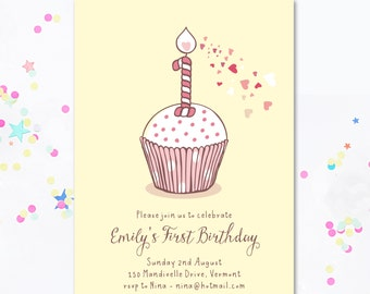 First Birthday Invitation, First Birthday, First invite, Cupcake invite, Birthday cake, Girl/boy invitation, Printable Invite. Motif Visual