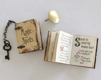 Miniature 'Aged' Magic & Spell Book (with printed pages, illustrations, and mock pop up bat)