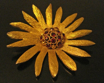 Golden Red Rhinestones Sunburst Flower Brooch Pin