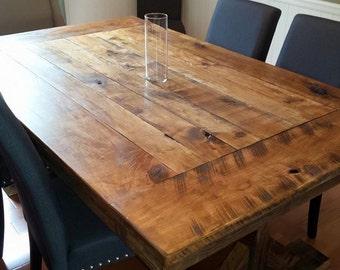 Trestle X Farmhouse Table built with Reclaimed Barn and Rough Cut Wood