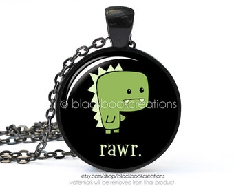 Cute Rawr Dinosaur Monster Necklace - Handmade