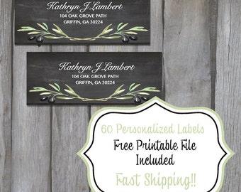 60 Personalized Return Address Labels - Black Chalkboard Olive Branch Themed Address Labels