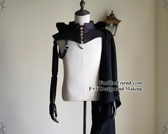 Gothic Punk Pirate Hooded Single Shoulder Mantle