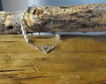 Sterling Silver, Pearl and Swarovski Heart Bracelet - Pearl Earrings - Bridal Jewelry (BD-926)