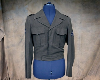 Eisenhower Cropped Military Jacket, 36R Vintage Army Uniform