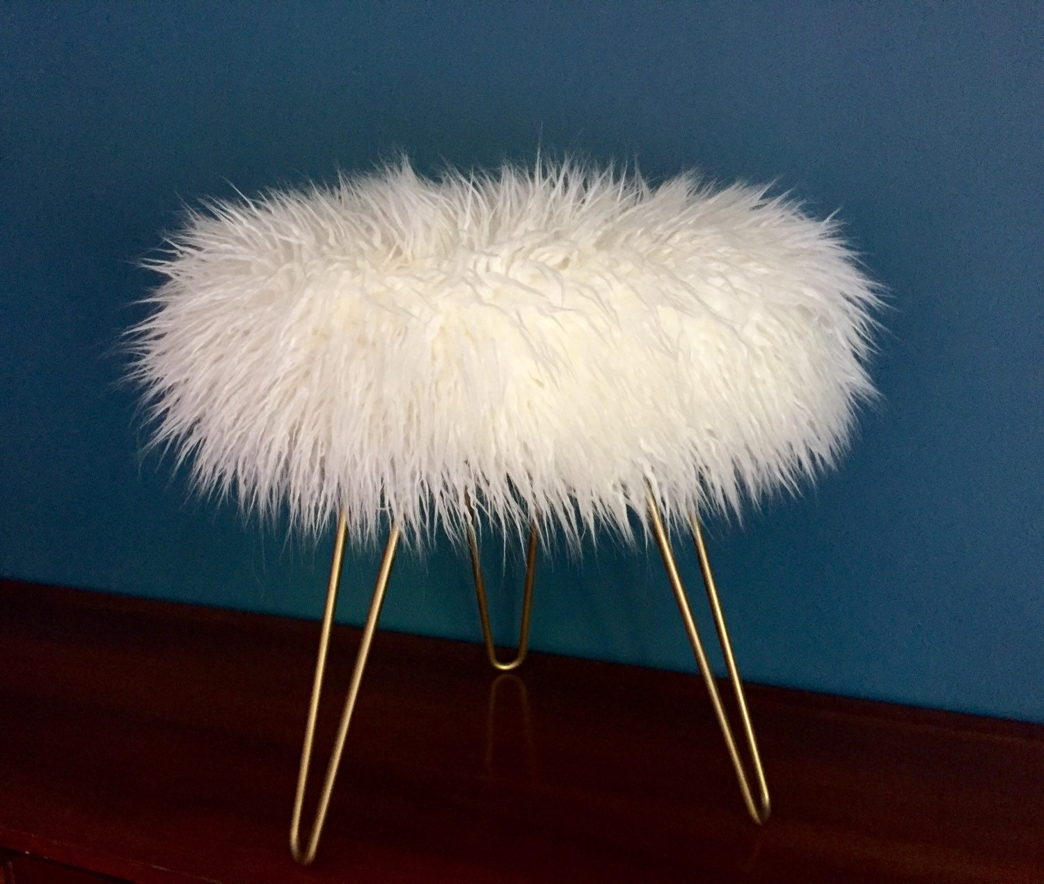 Grey Faux Fur Stool Custom Mongolian Faux Fur White Stool