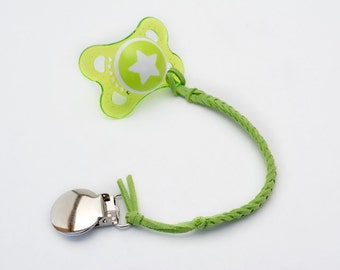 Lime Green Leather Braided Binky Clip - (modern pacifier clip, boy, girl, gender neutral, faux suede, simple, natural)