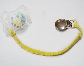 Lemon Meringue Leather Braided Binky Clip - (yellow, modern pacifier clip, boy, girl, gender neutral, faux suede, simple, natural)