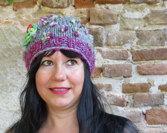 Hand Knit Hat Boho Beanie Womens Crocheted flower - Bohemian style ,,EARTH FLOWER,,