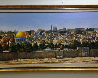 Jerusalem Painting/Jerusalem Oil Painting/Jerusalem view/Jewish Art /original Painting/Oil On Canvas/Jerusalem Art/Israel Holy Land /Israel