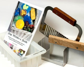 """Stainless Steel Soap Mitre Box Miter Set w Slots for 1"""" & 2"""" . Includes Straight and Wavy Cutters, Silicone Loaf Mold and Soap Molders Guide"""