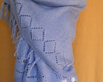 Knit Shawl, Triangle Shawl, Blue