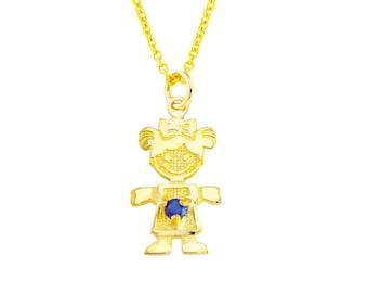 "SGirl-Sep2 - 14K Yellow Gold 1/2"" September Birthstone Girl Charm Necklace"