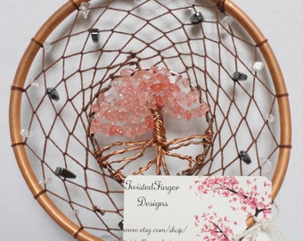 Hand Crafted Tree Of Life Dream Catcher With Unakite Semi