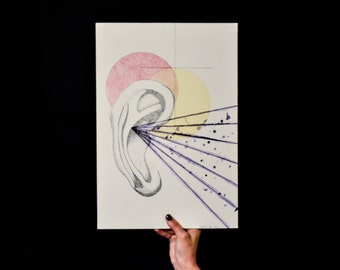 """Original Pen and Ink Illustration - """"Don't Believe Everything You Hear"""" - Ear Drawing - Rachel Vice Artwork"""