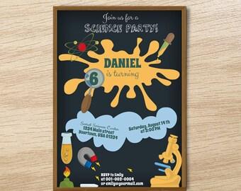 Scientist Invitation, Printable Scientist Birthday Invite, Kids Science Party Invitation Card / custom digital chemistry birthday invitation