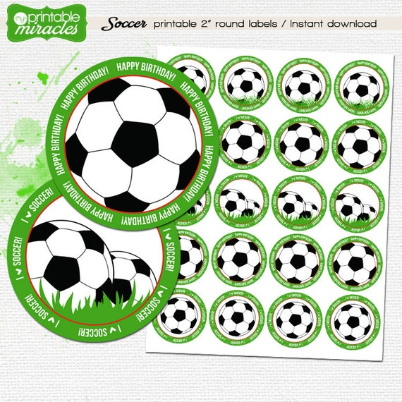 Soccer cupcake toppers / Soccer party decorations / Kids
