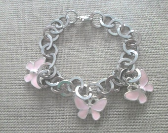 Rayhana bracelet with pink butterflies charms