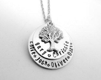 Family Tree Necklace- Double layered personalised necklace - Aluminium
