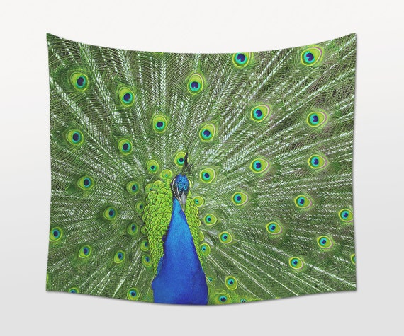Peacock Tapestry, Animal Photography, Green Wall Art, Large Wall Tapestry