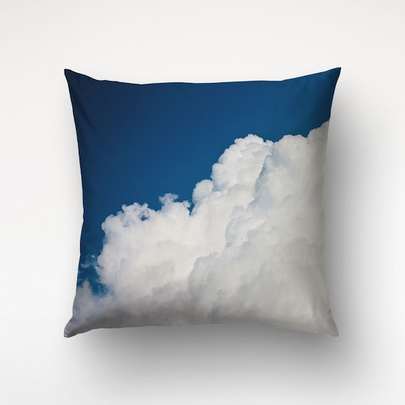 Cloud Pillow, Blue, White Clouds, Pillow Cover, Photo Printed