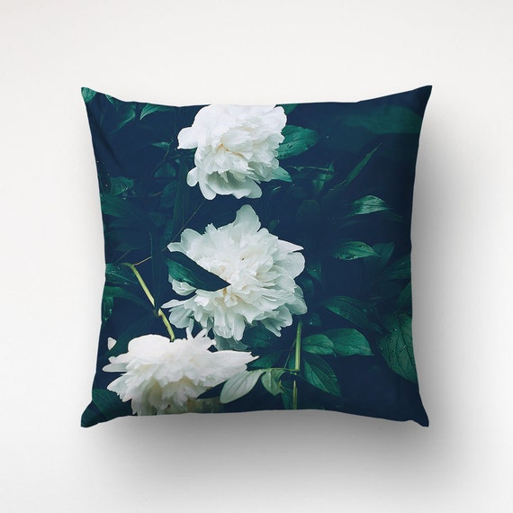 Peony Pillow, Floral Cushions, Green Pillows, Nature Photography, Sofa Throws