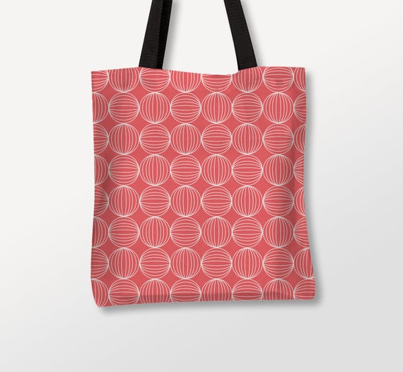 Minimal Tote, Graphic Bag, Coral Color, Custom Bags, Circles Tote