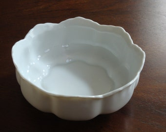 Art Nouveau Style White Porcelain Footed Bowl!