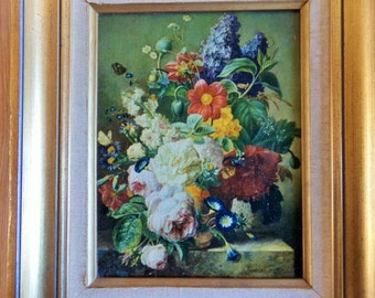 Lovely French vintage oil painting, framed art work, printed on canvas.