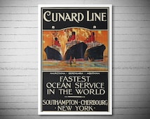 Cunard Line, Fastest Ocean Service  Travel Poster - Poster Paper, Sticker or Canvas Print