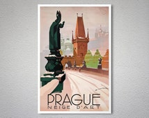 Prague Travel Poster - Neige D'Art - Poster Paper, Sticker or Canvas Print