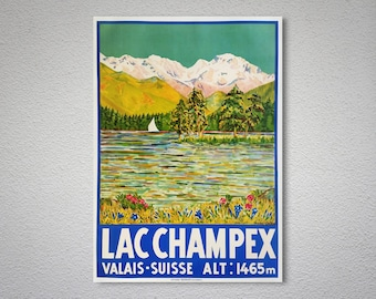 Lac Champex, Suisse Vintage Travel Poster - Poster Print, Sticker or Canvas Print