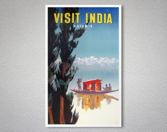 Visit India, Kashmir - India Travel Poster - Poster Print, Sticker or Canvas Print