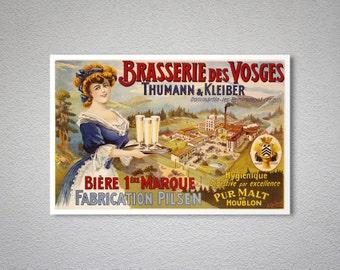 Brasserie des Vosges Vintage Food & Drink Poster - Art Print - Poster Print, Sticker or Canvas Print
