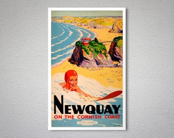 Newquay On the Cornish Coast Travel Poster, 1948 - Poster Paper, Sticker or Canvas Print
