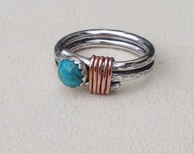 Turquoise Sterling silver copper twist ring