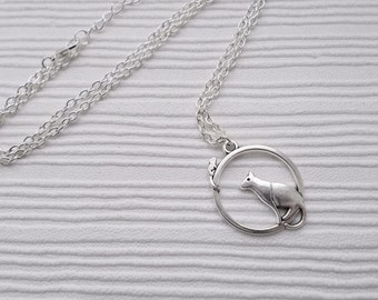 cat and mouse necklace simple jewellery silver necklace cat lover gift for women silver charm necklace cat necklace mouse necklace